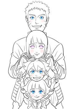 Naruto, Bolt, Himawari and Hinata