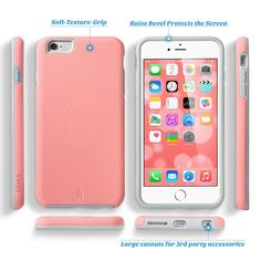 iPhone 6 Plus Case (5.5 inch), ULAK Slim-Protection [Slick Armor Series] Hybrid Dual Layer Shockproof Hard Case Cover for Apple iPhone 6 Plus 5.5 inch (Baby Pink/Grey)