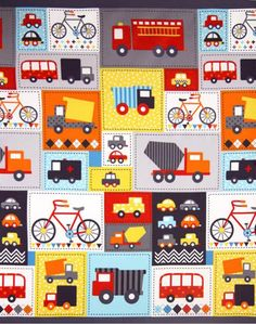 Robert Kaufman Ready Set Go 2 Transportation Retro 60Cm Patchwork Fabric  Panel - Patchwork Fabric for Patchwork Quilting - The Sewing Studio