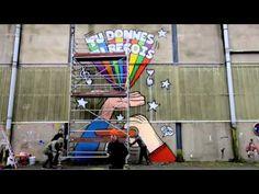 Tu donnes, Tu reçois par 2Shy à Nantes. Le 30 avril, le graffeur 2Shy sortait ses pinceaux sur l'île de Nantes pour réaliser une grande fresque sur le principe d'Orange RockCorps : Tu donnes, Tu reçois ! #OrangeRockcorps #streetart #performance