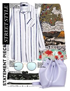 """#FashionStripes"" by mariannazp ❤ liked on Polyvore featuring Mary Katrantzou, Ray-Ban, MSGM and Rachael Ruddick"