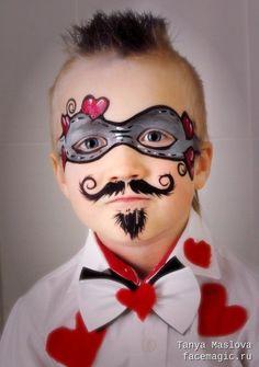 Young Casanova. Face paint by Tanya Maslova. #facepainttutorial