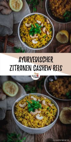 Ayurvedischer Zitronen-Cashew-Reis It's over with boring rice dishes! This Ayurvedic lemon cashew rice is far from boring. Spiced up with spices such as ginger, turmeric and coriander, this rice is the perfect side dish for any dish! Gujarati Recipes, Indian Food Recipes, Ethnic Recipes, Healthy Salad Recipes, Vegetarian Recipes, Cooking Recipes, Healthy Detox, Ginger Rice Recipe, Unprocessed Food