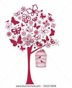 Butterfly And Bird Tree (All Separate Elements) Stock Vector 101573908 : Shutterstock