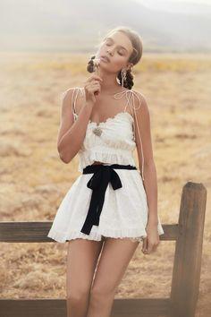 Summer 2018 Ready-To-Wear – For Love & Lemons | Charlotte Eyelet Tank Top- https://forloveandlemons.com/products/charlotte-eyelet-tank-top | Charlotte Eyelet Mini Skirt- https://forloveandlemons.com/products/charlotte-eyelet-mini-skirt?nosto=productpage-nosto-1 | Crystal Heart Earrings- https://forloveandlemons.com/products/charlotte-eyelet-mini-skirt?nosto=productpage-nosto-1