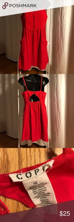 Cherry red dress with open back urban outfitters Great used condition.  Adjustable straps, snap back closure with opening.  Snap bodice.  Front pockets and elastic back at the waist. Urban Outfitters Dresses