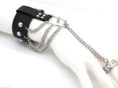 Biker Bracelet Women's Faux Leather Adjustable Ring Attached Slave Silver Tone #SensualGems #SlaveRingAttached