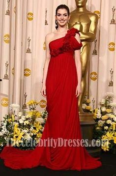 Anne Hathaway Red Chiffon One Shoulder Prom Dress Oscar Red Carpet 2008