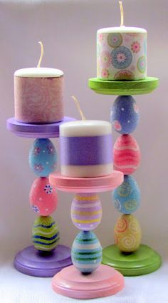 Easter egg candle sticks.