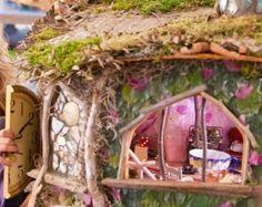 Mushroom cap fairy garden house stone trim on door by for Hallmark fairy door
