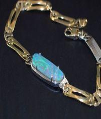 Lightning Ridge Opal Bracelet - Azure blue-green lightning ridge crystal.