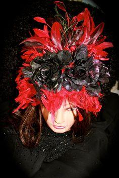 Dramatic Red & Black Halloween Crown.