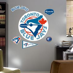Put your passion on display with a giant Toronto Blue Jays: Classic Logo - Giant Officially Licensed MLB Removable Wall Decal Fathead wall decal! Baseball Toronto, Mlb Teams, Sports Teams, Atlanta Braves, Atlanta Georgia, Rough Riders, Removable Wall Decals, Toronto Blue Jays, Logo