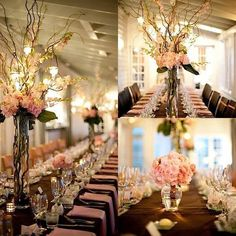 Tall Wedding centerpiece in blush with tortured willow.