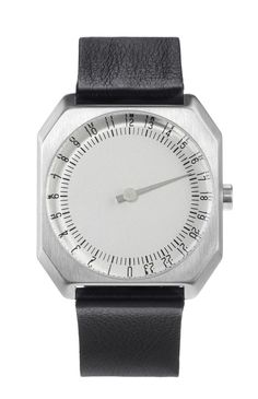 The Slow Watch - 24 hours 1 hand :: Black Leather, Silver Case, Silver Dial