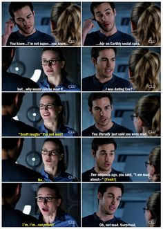 "Dude. Kara and Mon-El have the BEST (and by ""best"" I mean MOST CHILDISH) conversations when in denial, lol. ""You did___."" ""No."" ""Yes."" Talk about your mixed signals! 