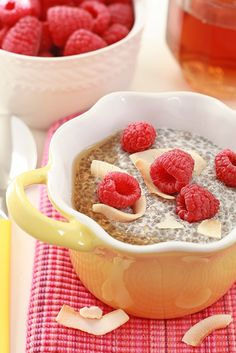 coconut and raspberry chia seed pudding