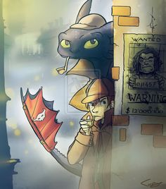 Hahaha, Hiccup and Toothless playing as Sherlock Holmes. lol Love this.