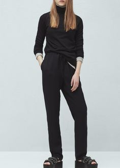 Drawstring baggy trousers -  Woman | MANGO Denmark