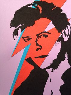 David Bowie Cardstock Silhouette by MusicallySilhouetted on Etsy: David Bowie Starman, David Bowie Art, Ziggy Played Guitar, Record Producer, Cover Art, Printing On Fabric, Pop Art, Card Stock, Silhouette