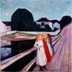 "Edvard Munch ""Four girls on the bridge"" 1905, Museo Wallraf-Richartz, Köln, Alemania. - - -"