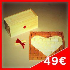 MATTO LOVE CASE 90 - Contents: 5 big Bricks, 13 big white Bricks, 10 medium Bricks, 4 medium white Bricks, 34 small Bricks, 12 Angular Bricks, 12 Angular white Bricks. Case in fir wood. Extra love ticket.