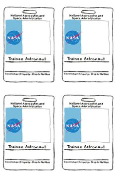 free printable ID badges for space party