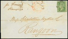 """Burma Bengal Obliterators 1857 (26 Mar.) entire ex the """"Gladstone Wyllie"""" correspondence to Rangoon, bearing 1854 2a. (cut into) tied by light """"B/5"""" obliterator with poor Akyab d.s. in red alongside; the face panel with two small pieces missing at top. Also three loose adhesives similarly cancelled. Photo"""