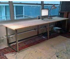 IKEA hack using VIKA FURUSKOG Table top, pine, and VIKA MOLIDEN, Underframe, nickel plated $170