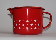 Red Enamel Pitcher, White Hearts, Soviet Enamel Jug, Milk Pitcher, Farmhouse Jug, Serving Pitcher, Metal Kitchenware, Chipped watering can by VintagePolkaShop on Etsy