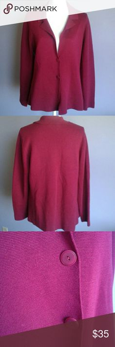 Eileen Fisher Silk Cotton Knit Blazer Berry colored long sleeve blazer style knit with 2 button closure and seaming down the front. EUC! 80% silk, 20% cotton. Hand wash. Size large. Eileen Fisher Sweaters