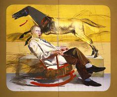 Dimitris Mytaras Portrait of man sitting, 1979 Modern Art, Contemporary Art, Greek Paintings, Painter Artist, Man Sitting, Greek Art, Art Database, Conceptual Art, Figure Drawing