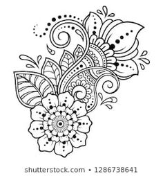 Unknown Mehndi flower pattern for Henna drawing and tattoo. Decoration in ethnic oriental, Indian style. Mehndi flower pattern for Henna drawing and tattoo. Decoration in ethnic orienta& Henna Patterns, Zentangle Patterns, Flower Patterns, Embroidery Patterns, Henna Drawings, Doodle Drawings, Doodle Art, Henna Kunst, Henna Art