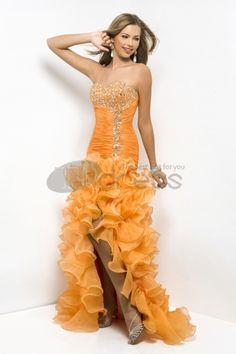 Oransje Mermaid Kjæreste Organza Ballkjoler