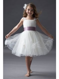 Ruched Knee Length Straps A-line Flower Girl Dress match the sash to the color of the bridesmaids dresses