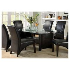ioHomes Glass Top With Arched Table Legs Dining Table Wood/Black
