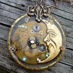 Celestial Steampunk Resin Pendant Necklace by SeagoddessEclectica, $48.00