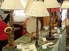 musical instrument lamps @Melissa Hardman ....what u can do with all the instruments if/when their musical interest wanes..LOL!