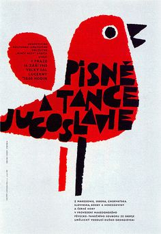 Jaroslav Sura. Poster for a performance of Yugoslav songs and dances in Prague. From Graphis Annual 66/67.