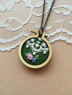 Hand Embroidered Mini Embroidery Hoop Necklace Featuring Vintage Lace: Green…