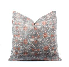 This pillow cover is sewn by Boho Pillow, using Zak + Fox Khotan fabric in the Rubia colorway on front, featuring a blue base with rust and ivory accents. Please note that the pillow cover you order is cut from the same fabric as pictured, however, the exact pattern placement will most #affiliate
