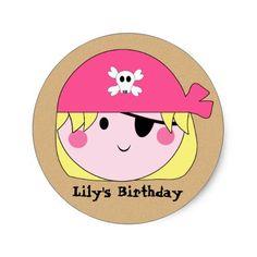 KRW Cute Custom Pink Pirate Birthday Stickers