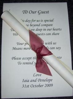Wedding Favor Poem Scrolls-these could go in pint glasses with personalized M&M's. Not sure if Jake's will let us because they need to wash glasses first Wedding Favours, Wedding Bride, Wedding Reception, Our Wedding, Dream Wedding, Wedding Dresses, Wedding Present Ideas, Wedding Ideas, Wedding Favor Inspiration