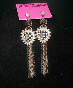 Betsey Johnon Pretty Polka Dot Heart Earrings. Starting at $10 on Tophatter.com!