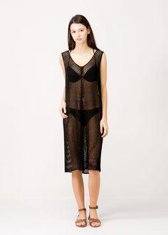 Crochet Bathing suit Cover Up Or Dress Black