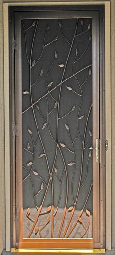 """Security Screen Doors"" - Treescape Gate Design, Window Design, Door Design, Front Door With Screen, Iron Front Door, Security Screen, Security Doors, Window Bars, Wrought Iron Doors"