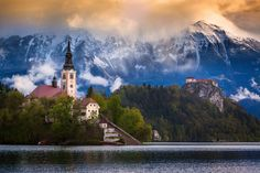 Lake Bled in Julian Alps (Slovenia)