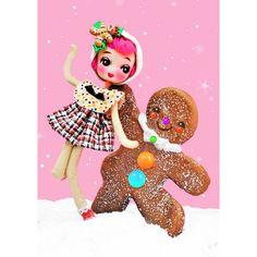 gingerbread doll christmas print 5 x 7 LETS DANCE by boopsiedaisy