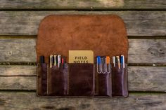 This roll up Leather Pen and Tool Case is the perfect way to store and transport your pens, pencils and your other accessories with style and class.  Can be use