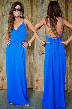 Adorable backless maxi dress fashion